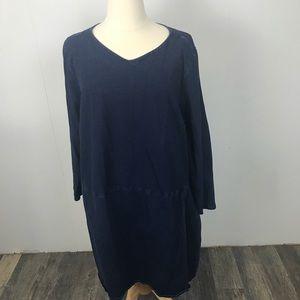 J Jill Women Navy Blue Midi Dress